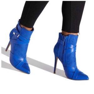 Cobalt blue faux leather wrap around ankle boot